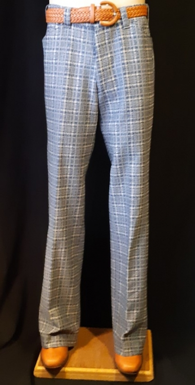 Checked flared pants, 1970's, USA, blue/cream, polyester, size 33""