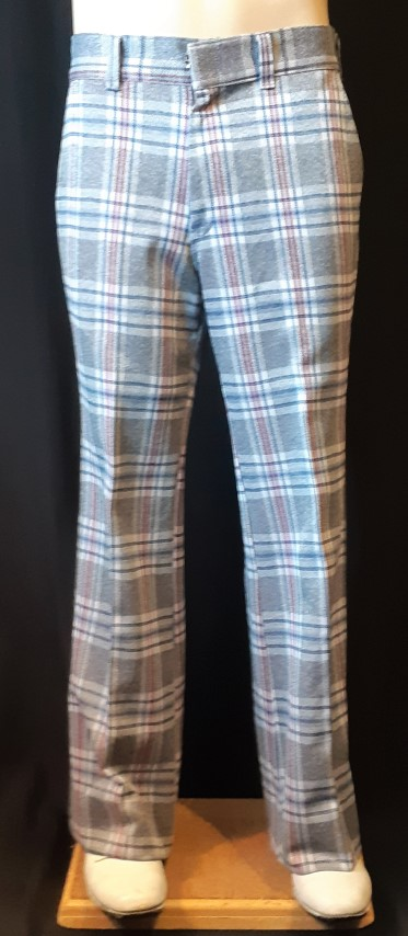 "Checked Flared pants, grey/ blu/maroon, polyester USA, by 'Kings Road' size 32"", S"