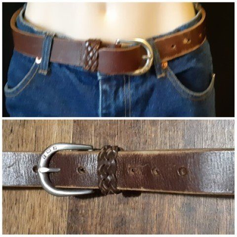 """Chocolate Brown Leather belt, 1970's size Xs, 28"""""""