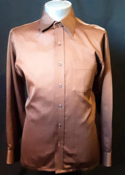 'Gloweave' 1970's brown body shirt, polyester size L
