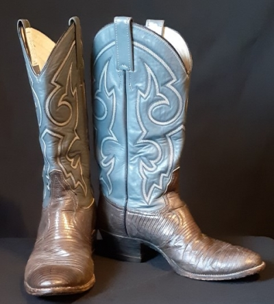 Western Cowboy boots, grey leather/ snakeskin boots, USA, size 8 Aust.