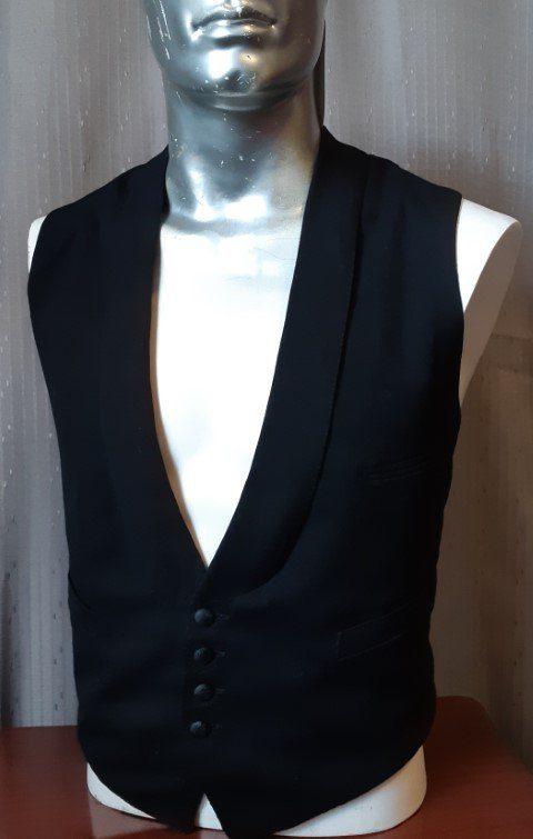 Waistcoat, black, 1930's-1940's, twill, USA, size L