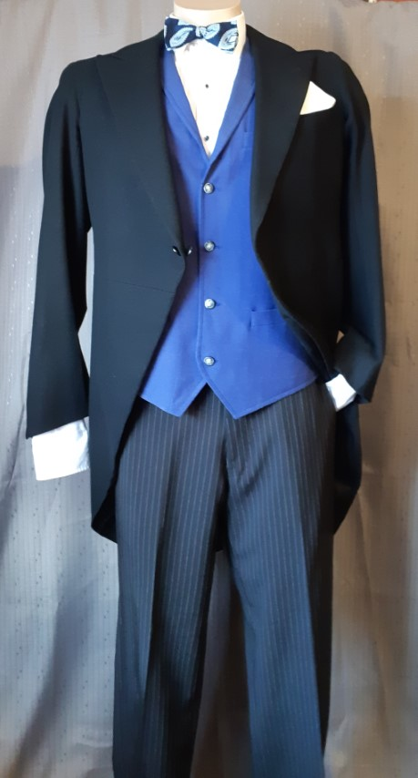 Tails Coat, Black wool, 1950's by 'Leaver Adelaide' size M