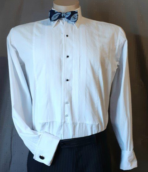 White Dinner Shirt, 1960's, USA by 'Welmar', cotton size M-XL