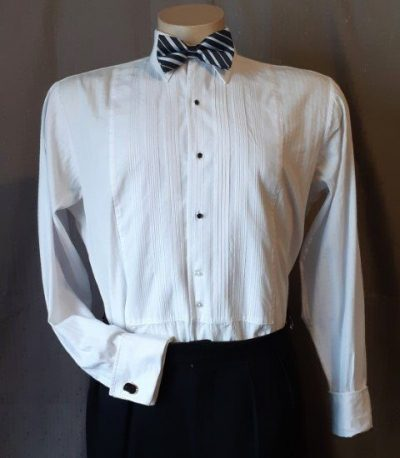 Dinner shirt, white, cotton, 1960's, USA, size 2XL