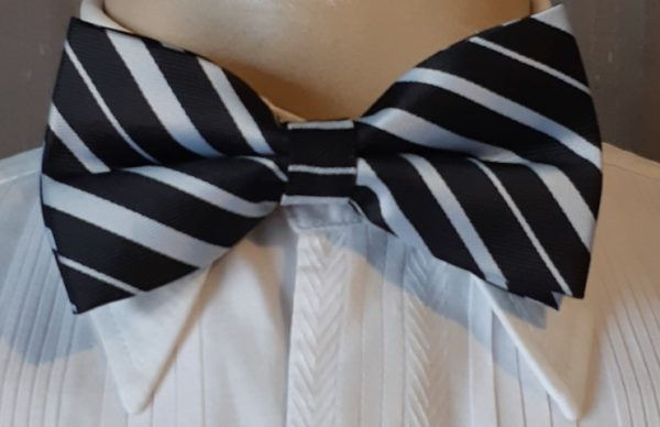 Bow tie, Black and white Candy Striped, polyester by 'Van Dyke' of Holland, USA