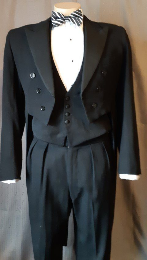 Vintage Tails Coat, Black, wool blend, Size M-L