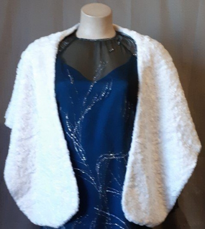 1950's faux fur wrap, white, polyester.