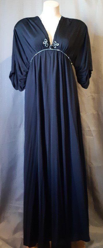 Evening dress, black jersey by 'Anne Tyrell London', size 10-12