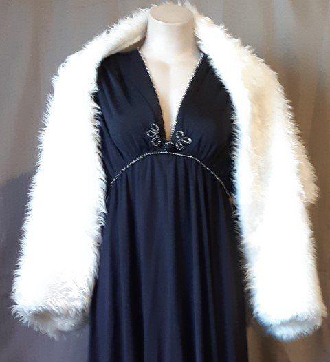 Faux Fur Wrap, white/ lurex thread, 1960's, Made In Japan, acrylic/ nylon