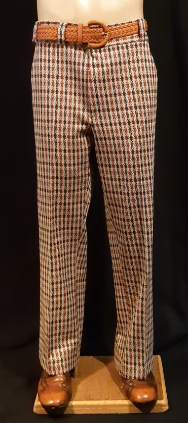 Checked golf pants, 1970's, rust/ chocolate/ cream, polyester by ' Montgomery Ward', size 36""