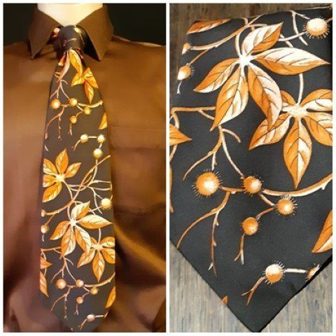 1970's Brown/ orange polyester tie by 'Rodney' Australia