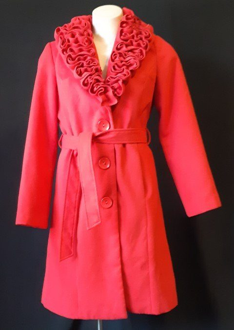 Red poly/wool Trench coat by 'Teaberry' size 10