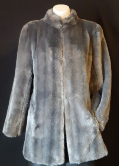 Faux Fur 3/4 length coat by 'Otex', 1970's, size 10-12