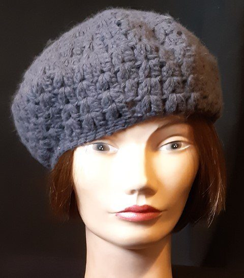 Crochet Beret, grey, by 'Avenel' nylon/wool/angora.