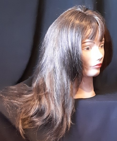 Long layered wig with fringe, brown with highlights by 'Glitz Girls'