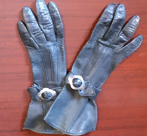 1940's Black Leather gloves, XXS