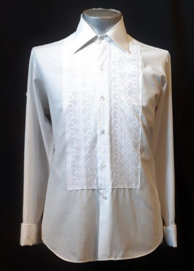 White dinner shirt, 1960's by 'Bisley' ploy/cotton size XL
