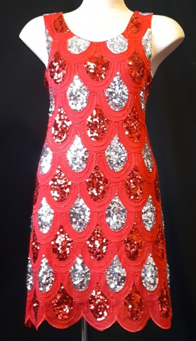 1920's inspired shift dress, red sequined front, polyester, size 10