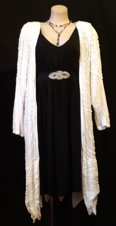 White pure slik sequined long jacket, 1980's, USA size L-2XL.
