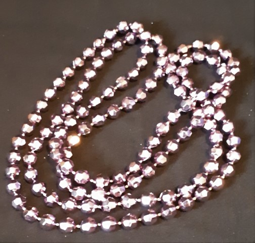 Long beaded necklace, sparkly lavender.