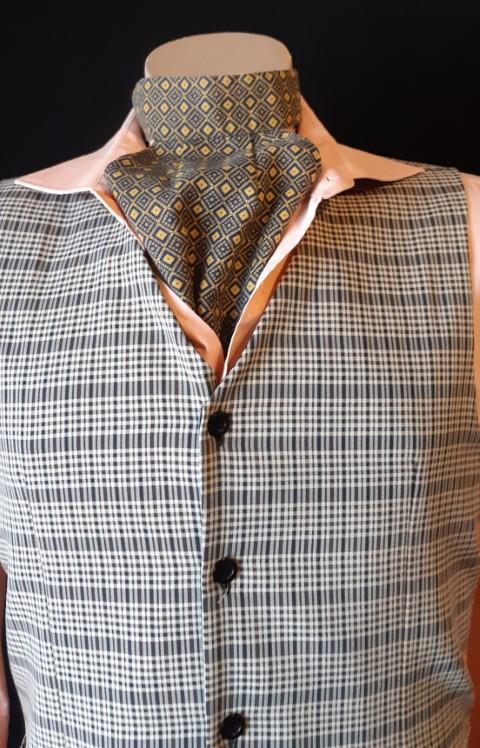 Cravat/ Ascot, Olive print, rayon.a