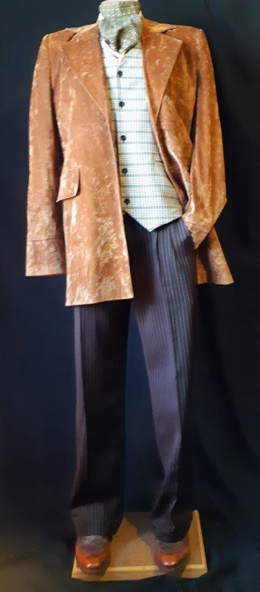 Morning Coat, polyester, tan mock suede, size L