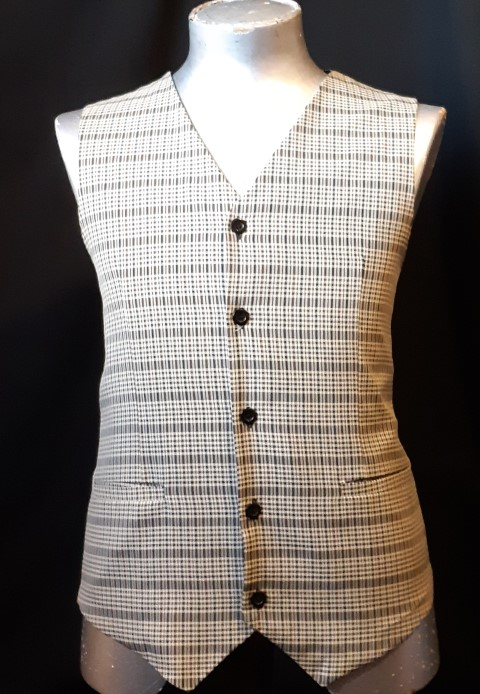 Checked waistcoat, autumn colours, polyester, size L