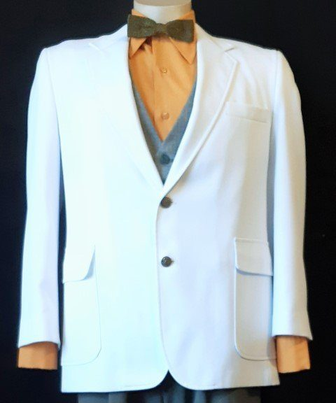 White dinner jacket, polyester, USA, by 'Haggar', size L- XL