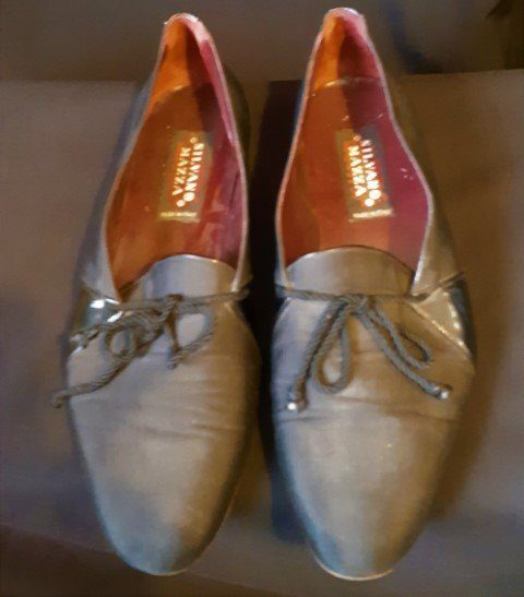 Vintage Loafers, Black rayon/ patent leather By 'Salvano Mazza of Italy' size 11