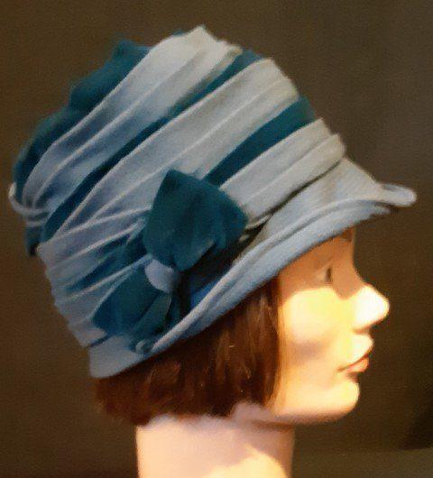1930's Original Vintage Cloche hat, rayon with velvet trim, Blue, size 56cm