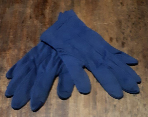 Rayon with fleece lining glove, junior navy, Made in Eastern Germany, size M