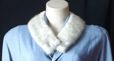 Vintage Detachable fur Collar, pale grey,