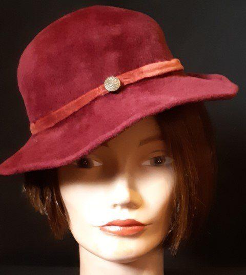 1940's Velvet Maroon Hat, size 56cm