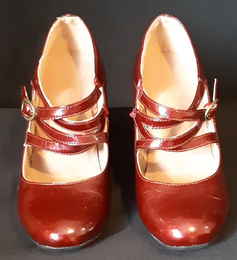 Imitation maroon Patent leather Mary Jayne shoe by 'Rivers' size 37