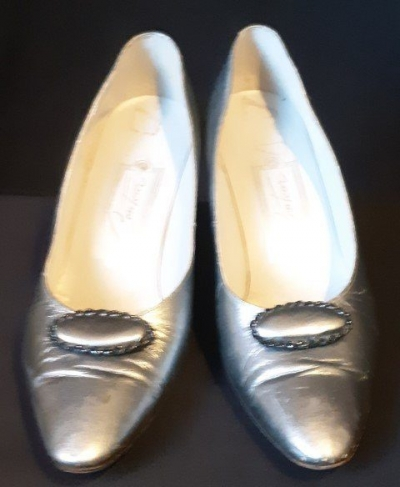 Vintage Patent Leather Pumps, Pewter by 'Contour', size 8B