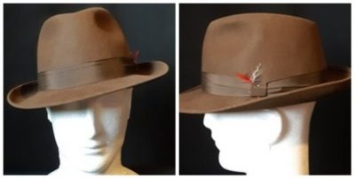 Fedora, Mid Brown, fur felt by 'Huckel' Made in Czechoslovakia.