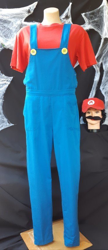 'Mario Bros Mario' Deluxe costume, poly/cotton, Blue and Red.