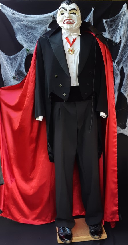 'Count Dracula' accessories, Mask, cape, cumberbun, medal and white bow tie.