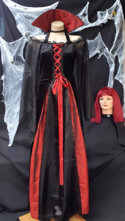 Dracula's Bride, wig and vampire teeth.