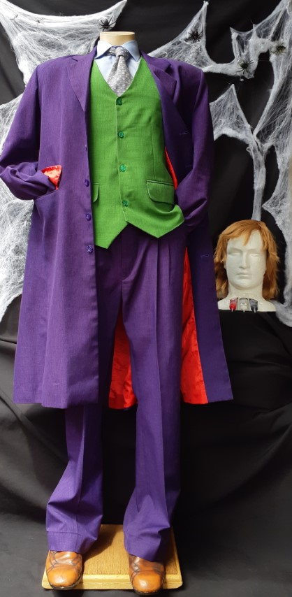 The Joker 'Heath Ledger' inspired, Suit, vest, shirt, tie, wig and makeup, poly/ cotton size L