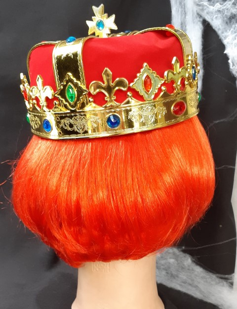 queen of hearts costume with wig and crown synthetic