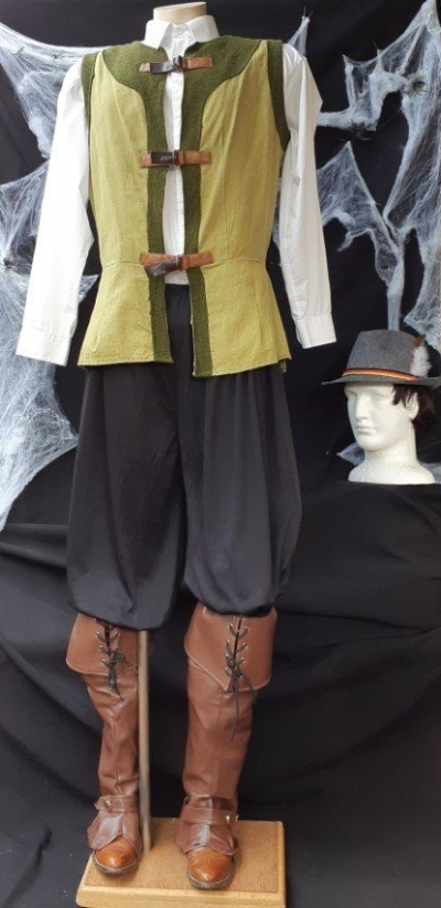 'Woodcutter' inspired costume, vest, pants, hat and boot covers, size M