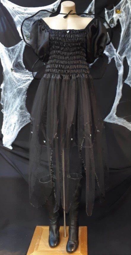 Black Fairy costume with attached wings, polyester, size 10-14