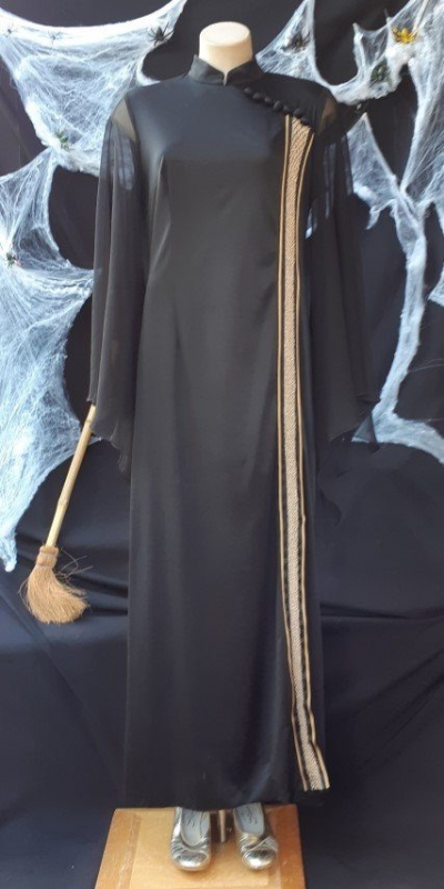 'Endora' inspired 1970's black Gown, jersey by 'Jafa of Melbourne' size 14