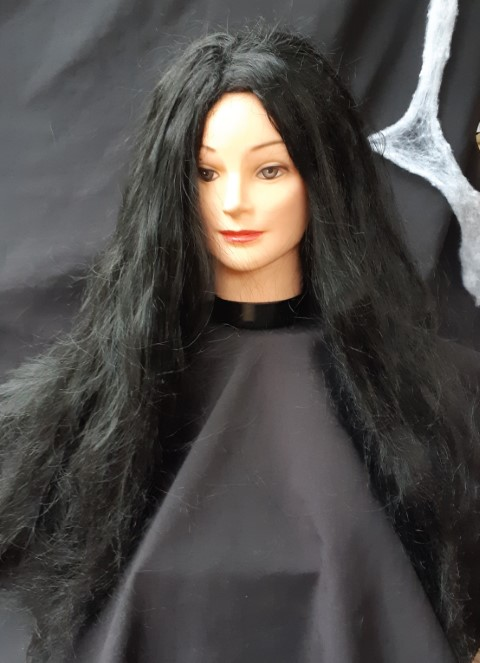 'Morticia' long black synthetic wig.
