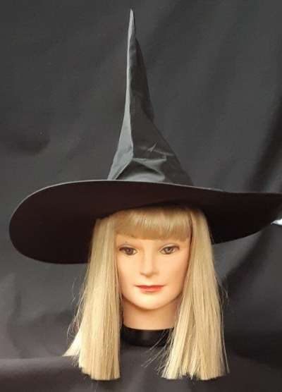 'Samantha Bewitched' synthetic blonde wig and witches hat.
