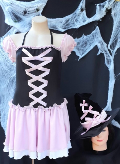Good Witch Costume, pink/black, polyester by 'Elevate', size 10-12