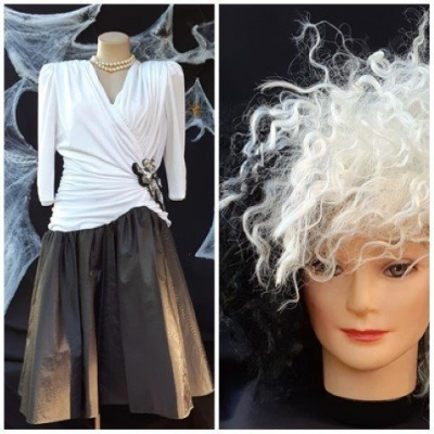 'Cruella De Vil' inspired costume, black/white, poly/taffeta dress and synthetic wig, size 12