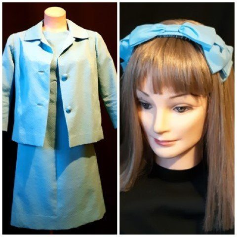 Dress and jacket, Crimplene, Aqua, includes bow headband, size 12-14